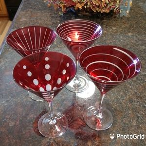 Mikasa Ruby Red Cheers Martini Glasses